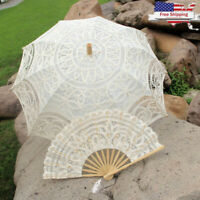 Wedding Lace Parasol Umbrella + Fan Vintage Handmade For Bridal Party Decoration