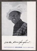 Autografo dell'alpinista Achille Compagnoni su cartoncino Colmar - anni '50