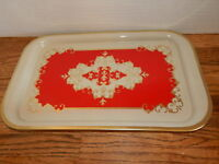 """Serving Tray 14""""x 9"""" Metal Kitchen Tray Gold and Red Vanity Tray Vintage 1980's"""