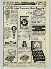 1936 PAPER AD Sewing Thimbles Eldorado Store Display Box Brass Molly Stark