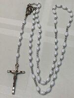 Rosary Marked Italy Religious Crucifix White Lucite Beads Catholic Vintage