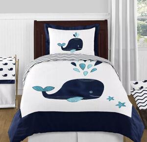 Sweet Jojo White Aqua Blue Whales Nautical Girl Boy Teens Twin Sized Bedding Set