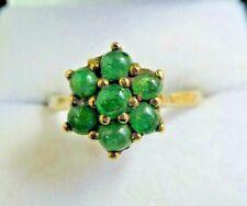 Vintage 9 carat Gold Green Agate Flower Cluster Ring Size O 1/2
