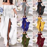 Womens Summer Off Shoulder Long Maxi Dress Cocktail Party Beach Split Sundress