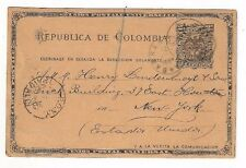 1893 Barranquilla Colombia 2c Coat of Arms Postal Card to New York