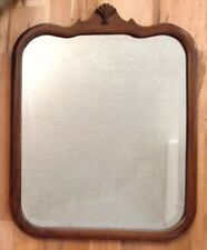 "Large Solid Wood ""28 1/4"" X 22 1/4"" Arched/Rectangle Beveled Framed Wall Mirror"