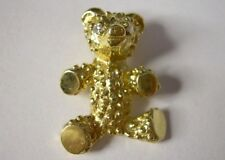Solid 14K Yellow Gold Teddy Bear Pendant w Diamond Eyes, 6gms., Maker Signed