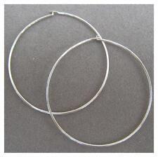 STERLING SILVER 36mm HOOP EARRINGS.  Easy Hook Closure. Free Shipping. (SSE36)