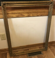 "Picture Frame Antique Vintage Gold Gilt Wood Gesso Ornate Victorian 27 X 33 1/4"""
