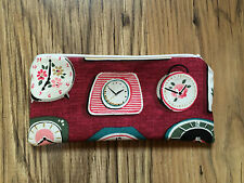 HANDMADE PENCIL MAKE UP GLASSES CASE MADE WITH CATH KIDSTON CLOCKS FABRIC