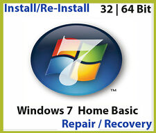 Windows 7 32 & 64 bit Home Basic install  reinstall recovery DVD Disc Support