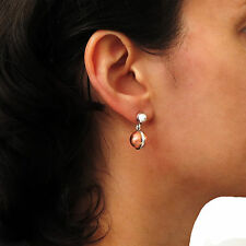 Ball Bead Sterling 925 Silver and Copper Drop Earrings