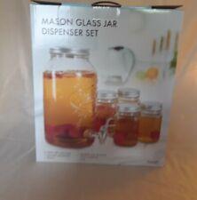 Mason 1 Gallon Beverage Dispenser with 4 Mason Jar Mugs Tea Jar ~ NEW in BOX