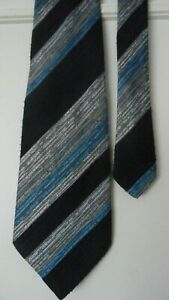 St.Michael polyester neck tie extra wide 4.5'' navy/grey/blue wide striped VGC