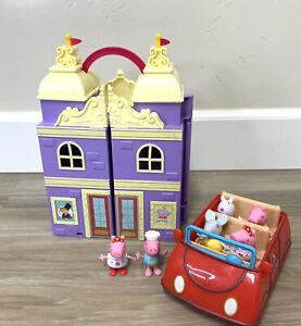 2003 Peppa Pig Talking Red Car, 6 Figures & Purple House