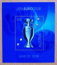 AUSTRIA 2008 EUROPEAN FOOTBALL CUP SOUVENIR STAMP SHEET  4 SWAROVSKI CRYSTALS