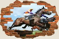 3D Hole in Wall Horse Racing View Wall Stickers Mural Film Art Wallpaper 291
