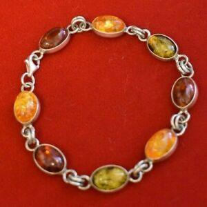 "Sterling Silver Stone Bracelet 7"""