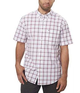 Tommy Hilfiger Men's Classic Fit Button Down Plaid Shirt (X-Large, White)