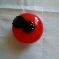 Vtg Red Hand Blown Life Size Glass Apple Studio Art Fruit Decor