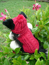 XXXS  handmade Red dog sweater&hat set(50% Acrylic , 45% Wool , 5% Cashmere)