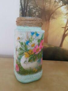 Decorative kitchen jar,vase, shabby chic, handmade decoupage,floral
