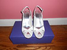 NIB Stuart Weitzman Bridal Cachet White Satin Evening Shoes 7.5 M