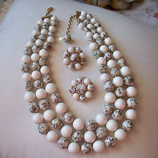 TRIFARI Vintage White/Grey Speckled Bead Necklace & Earring Set