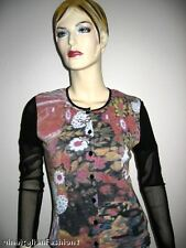 NWT ITALIAN DESIGNER TWINSET TOP CARDIGAN MULTI-COLORED MESH PRINT S M 810 ITALY