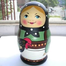 """Vintage Russian Hand Painted Wooden Nesting Doll """"Girl With Cockerel""""' Limited"""