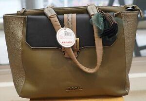 Doca Handbag with Shoulder Straps Greenish Gold 13308