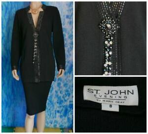 St. John Evening Knits Black Jacket  M 8 10 Suit Blazer Sequins Trim V Neckline