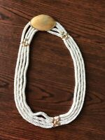 Price Reduced! Vintage Belt: shell buckle with brass rope holder, ivory rope