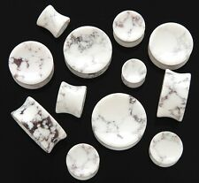 1 Pair Organic Stone Concave Flared Ear Plugs Gauges White Howlite Pick Size 859