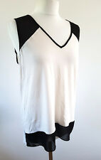 Vince Camuto Top Jersey and Chiffon Monochrome Cream and Black Size M 14 UK