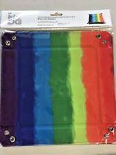 "Velvet Folding Dice Tray w/ Leather Backing - 10""x10"" - Rainbow Pride"