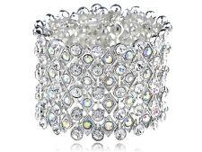 Chunky Aurora Borealis Crystal Rhinestone Shimmer Fashion Bracelet WB Bangle