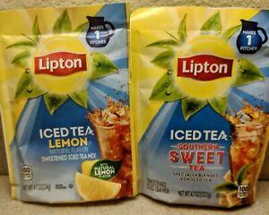 Lipton Iced Tea VARIETY 2Pack LEMON & SOUTHERN SWEET FREE SHIP 4.7 oz each