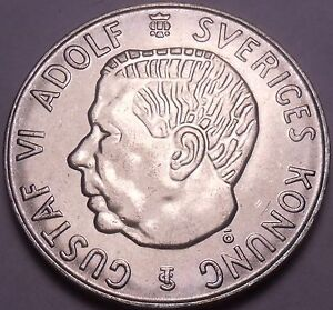Unc Silver Sweden 1955-TS 5 Kronor~Edge Incription~Duty Before All