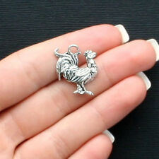 6 Rooster Charms Antique Silver Tone - SC1737