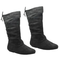 Ladies Womens Low Heel Knee High Calf Pixie Riding Long Suede BOOTS Fb-491 L Black 491 F UK 4