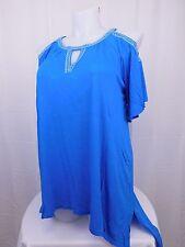 INC Plus Size Cold Shoulder Studded Top 1X Lapis Lazuli Bright Blue #4796