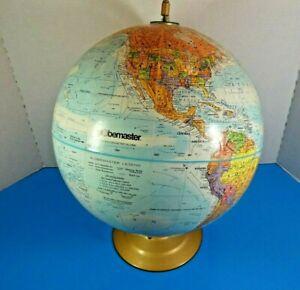 "Vintage GLOBEMASTER 12"" World Globe Full Color Relief Metal Base XLNT Condition"