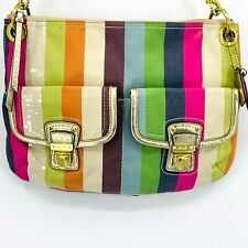 Womens Coach Poppy Legacy Stripe Sequins Leather Fabric Zip Top Crossbody Bag