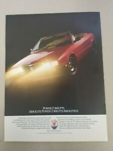 1987 Maserati Spyder Convertible Sales Brochure Two Sided Technical Data