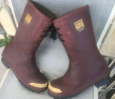 Vintage Ranger Fireman Steel Toe EH Rubber Boots Waterproof Made In The USA Sz 9