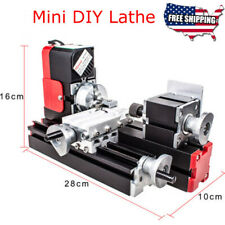 12v Mini Lathe Machine Miniature Wood Metal Woodworking Turning Tool Diy Lathe