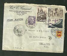 1953 Cover Sent From Paris France To New York N.Y. Manhattan Par Avion