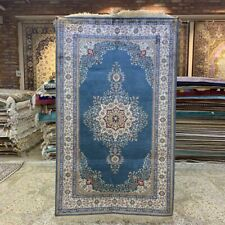 Yilong 3'x5' Blue Medallion Vintage Hand Knotted Silk Rug Oriental Carpet 230B