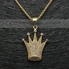 "Mens Hip-Hop Gold Iced Out Queen Crown Pendant Necklace Box Chain 24"" 3MM"